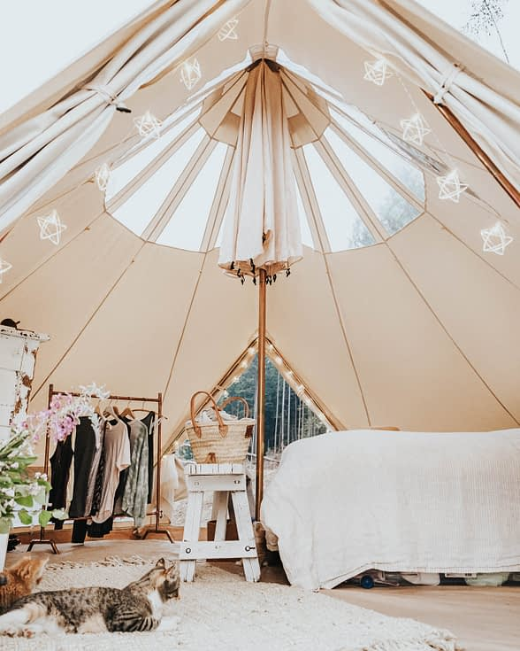 living in a bell tent with the roof open