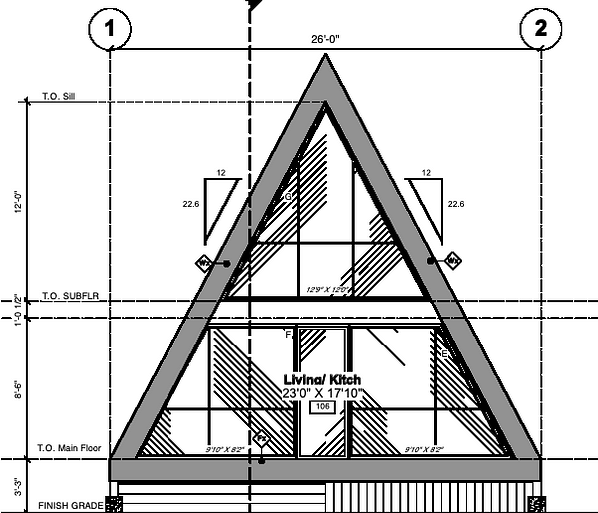 Architectural drawings of A frame