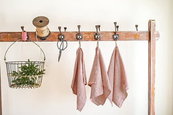 red ticking Kitchen Towels