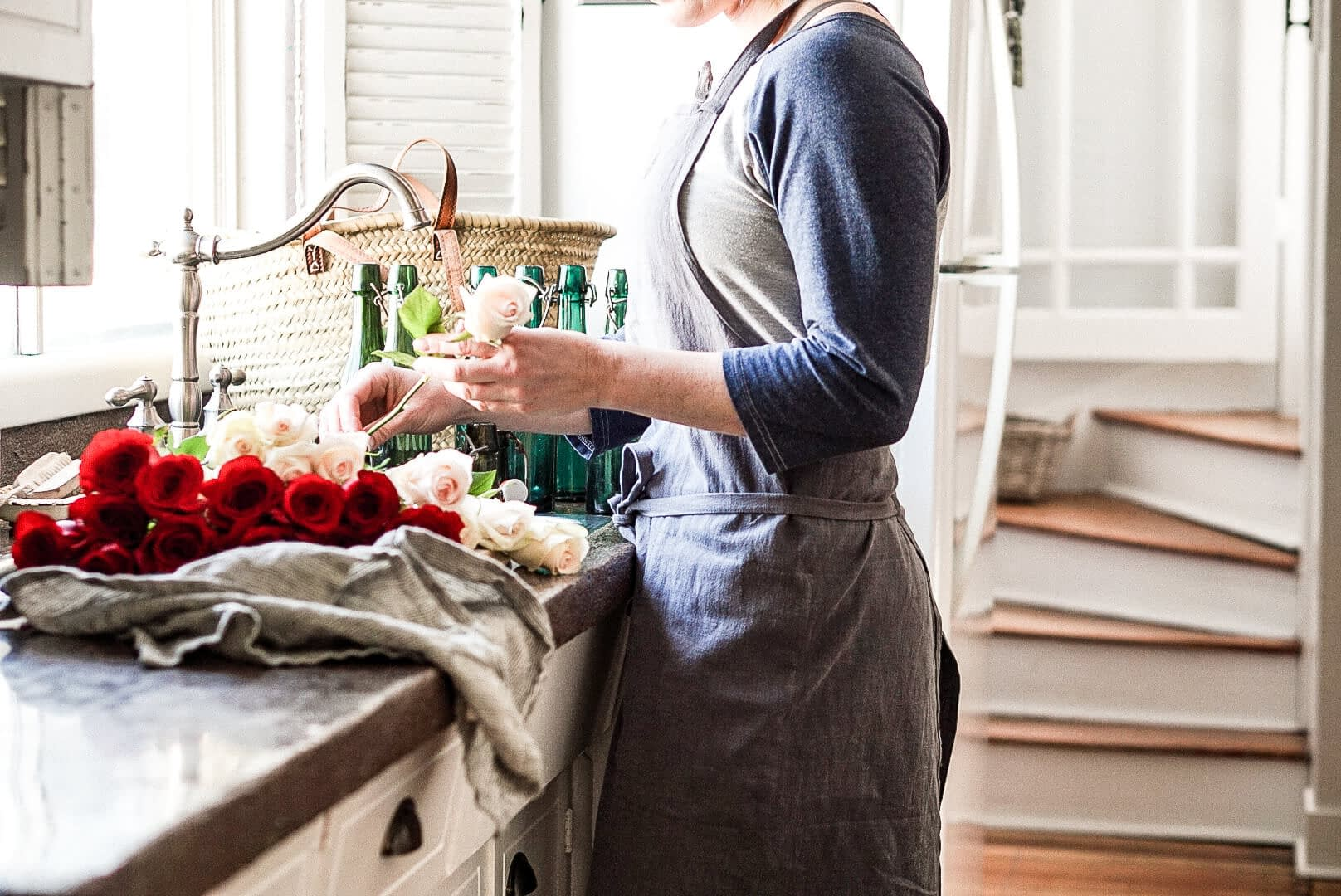 styled photo of apron and roses