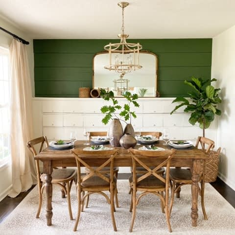 Farmhouse dining table in formal dinning room