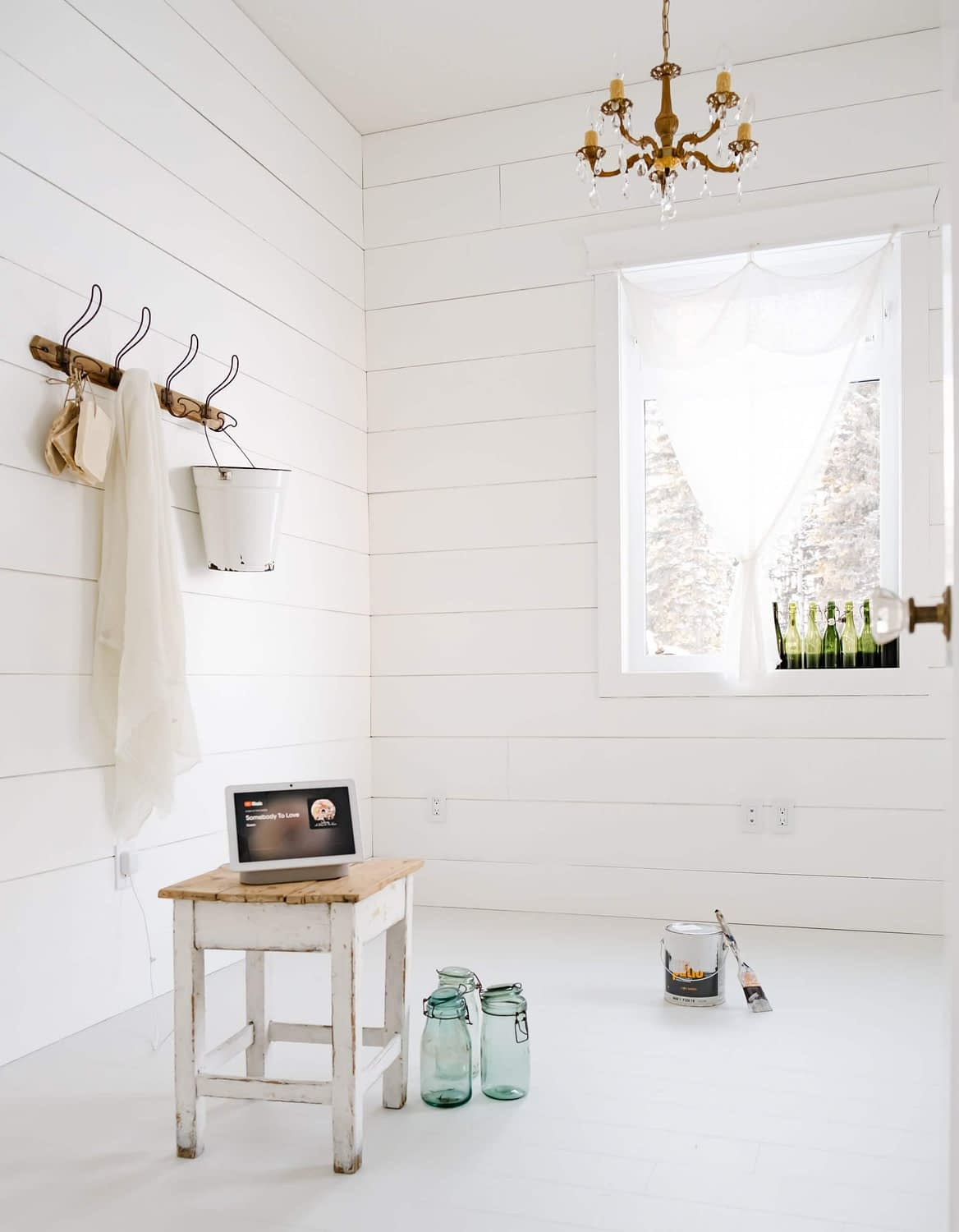 Painted floors and shiplap