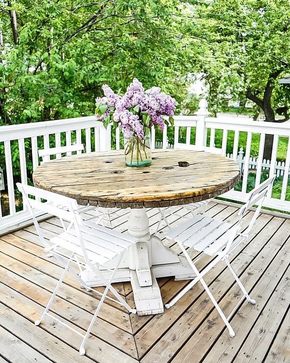 round spool table on the patio