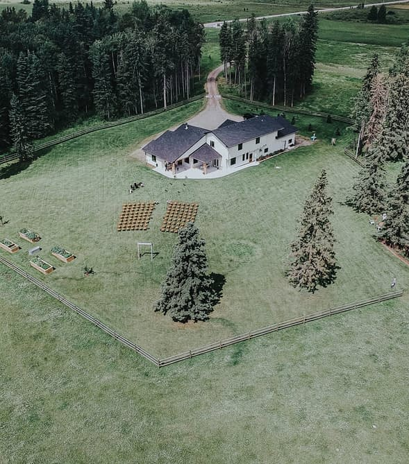 ceremony view from above backyard outdoor wedding in the country