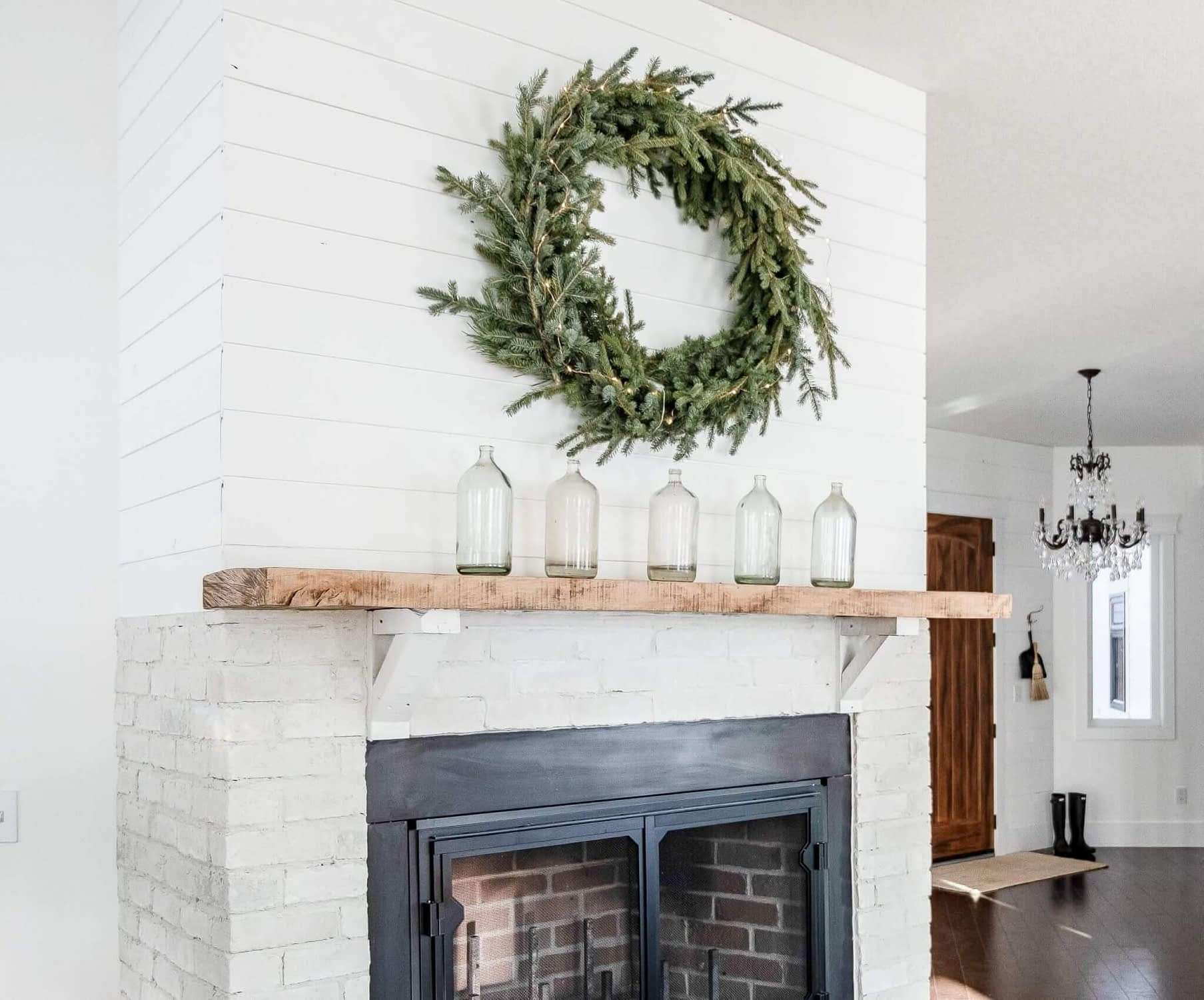 Britts Wood Burning Fireplace decorated for Christmas