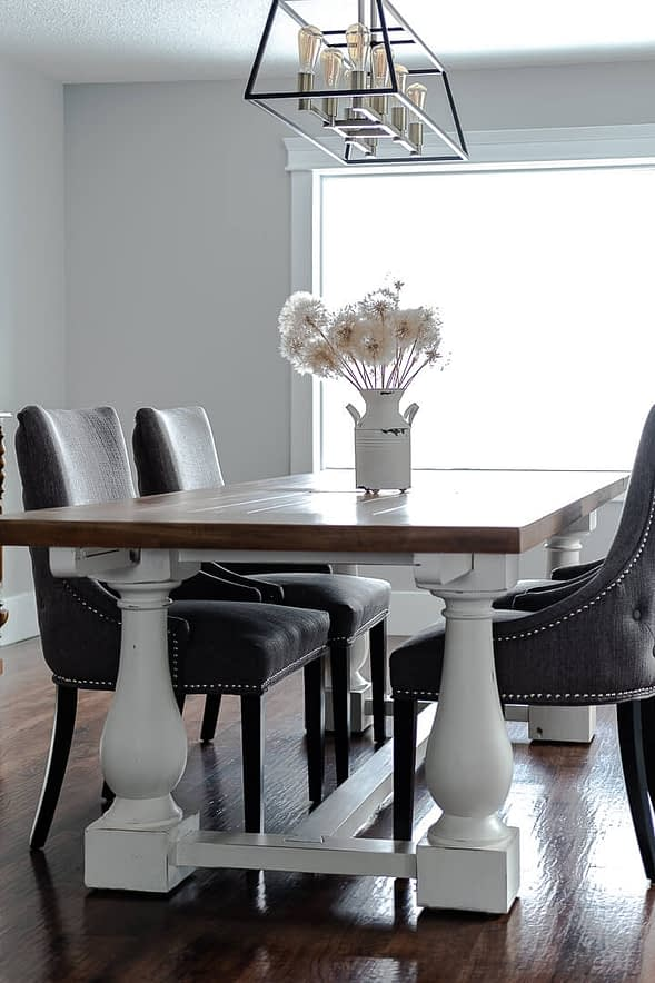 side angle of broad base farmhouse dining table