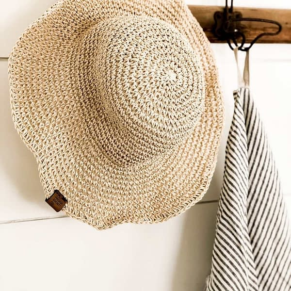 Tan Garden Hat for Mother's Day Gifts and Linen Ticking Towel