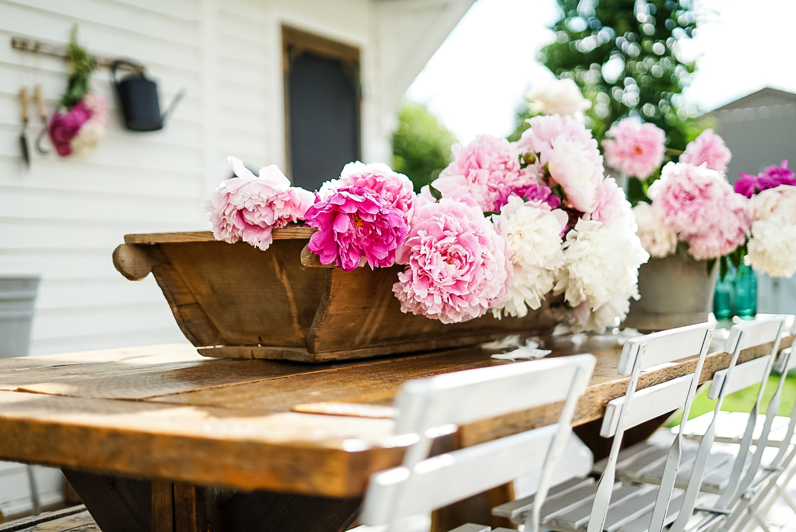 french country decor dough bowl with peonies