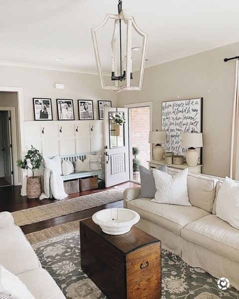 cozy home open concept living room and front entry