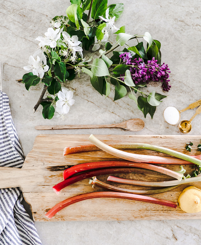 Rhubarb with wooden spoon