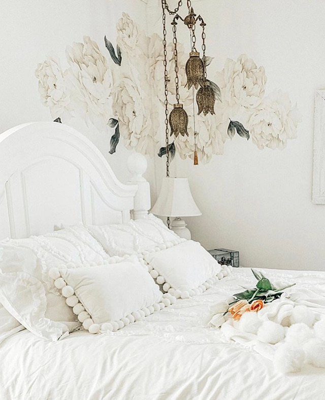 Master bedroom decor white layered bedding romantic floral art decals