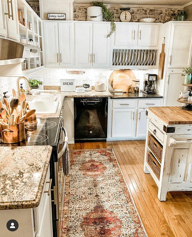 antique farmhouse kitchen whites and wood tones
