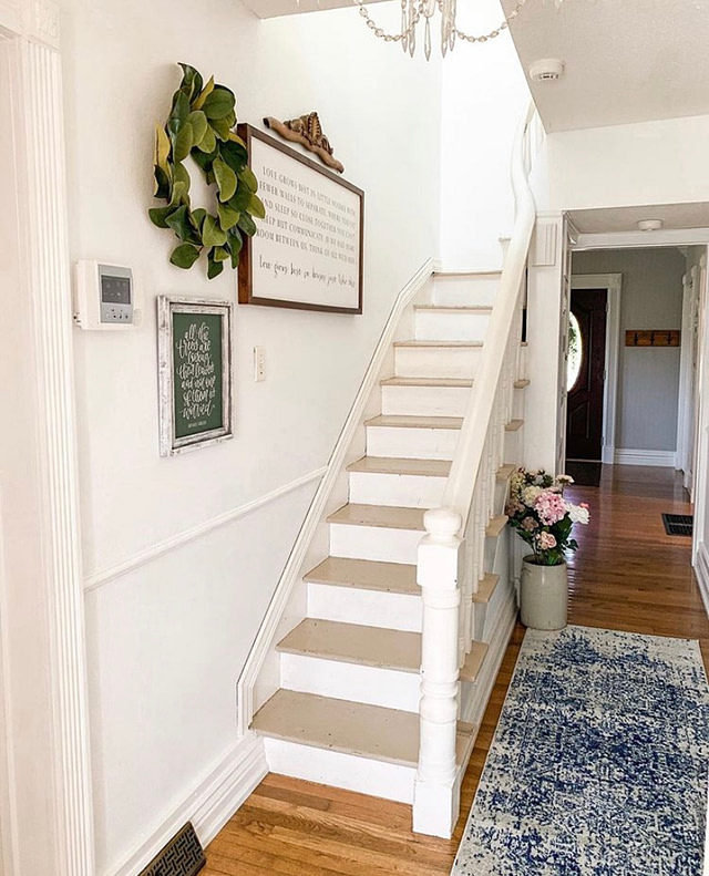the mustard seed 205 antique farmhouse front entry staircase hall way