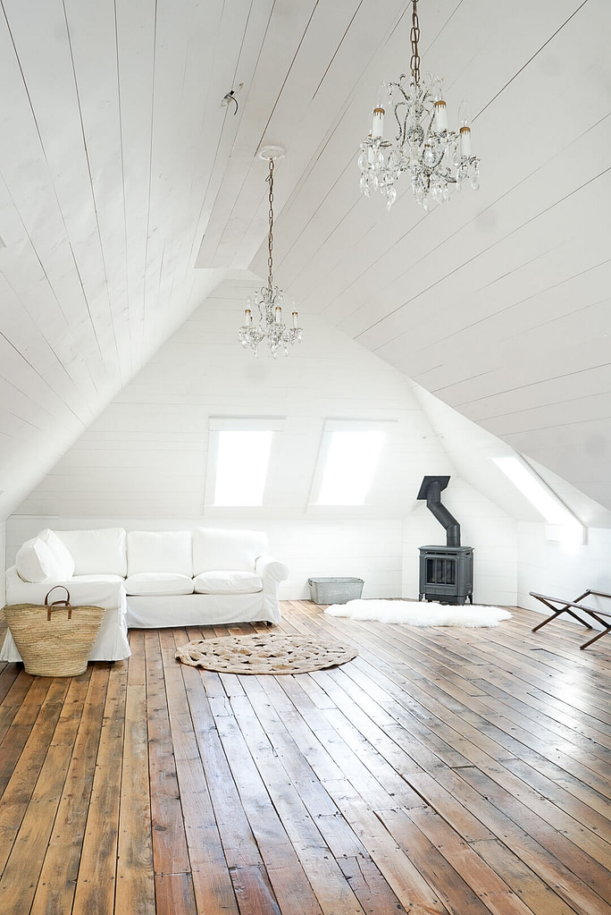Hampton H27 Gas Fireplace Attic White Shiplap salvaged hardwood skylights ikea sectional round natural rug 3