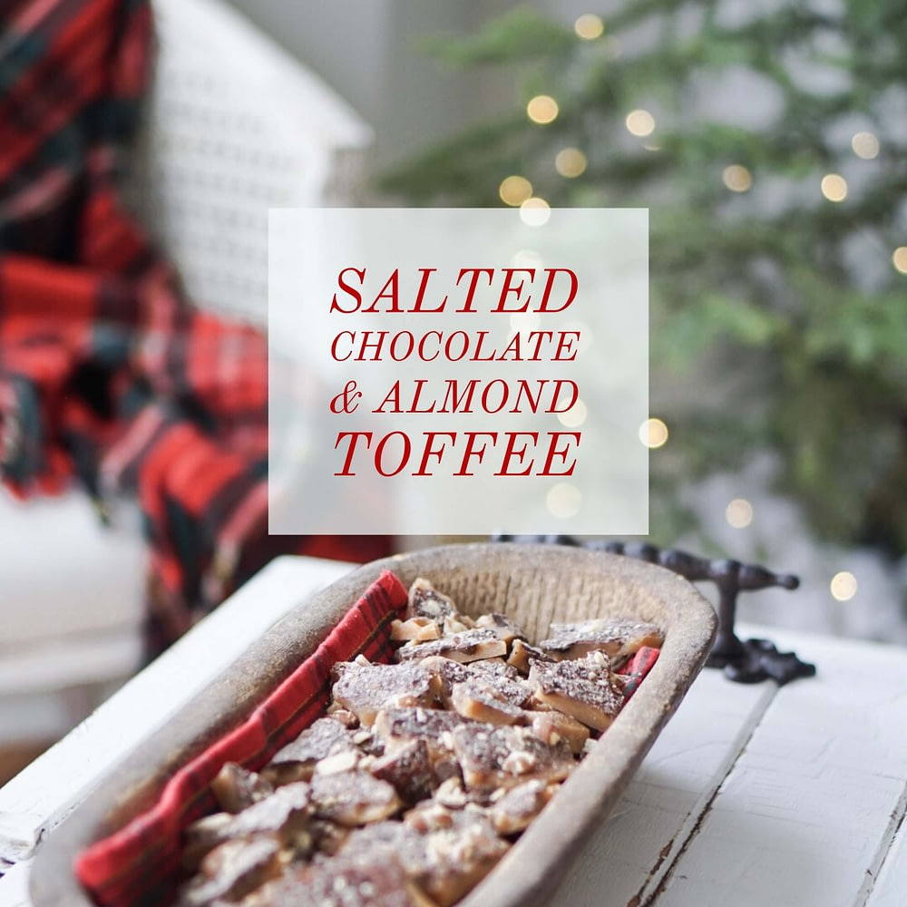 easy quick homemade salted carmel and almond toffee