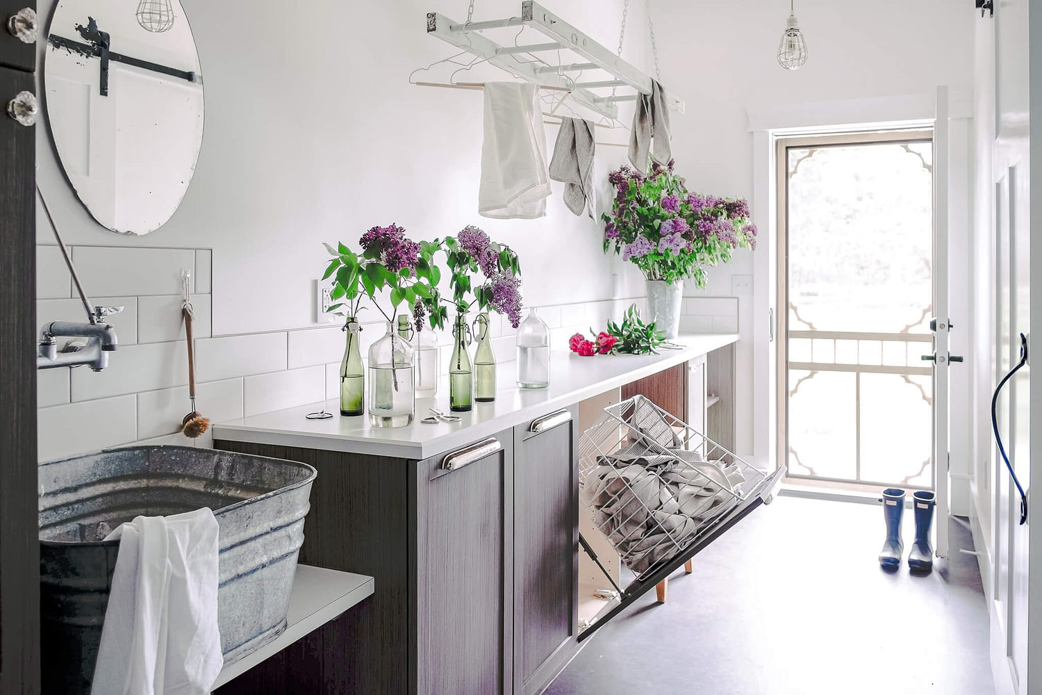 laundry room and lilacs
