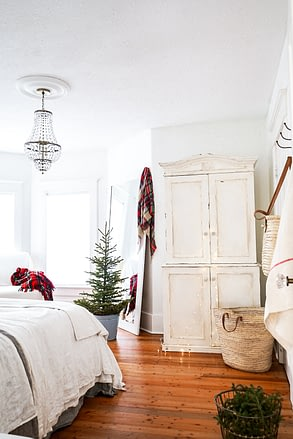 plaid scarfs in a bedroom for a farmhouse christmas