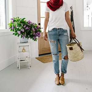 Linen scarf and market basket