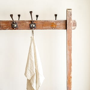 beige ticking towel