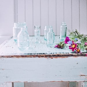 blue- glass bottles-vase
