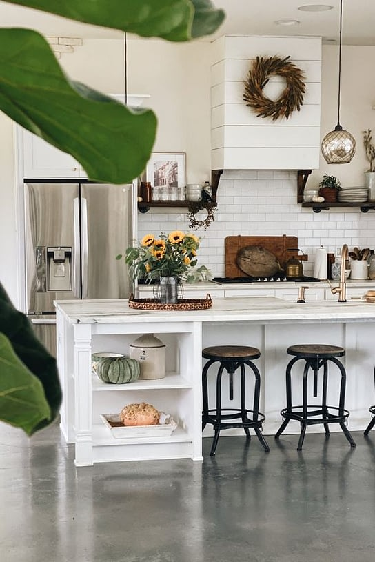 kitchen island with pumpkin decor