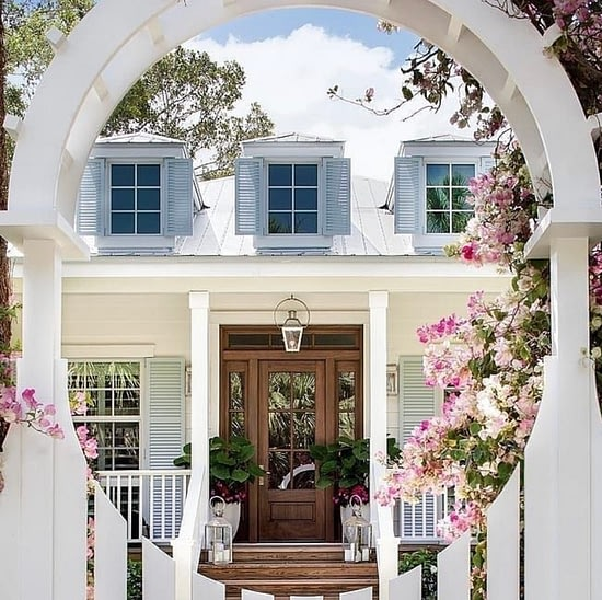 Remarkable Modern Cottage from entrance through the round gate