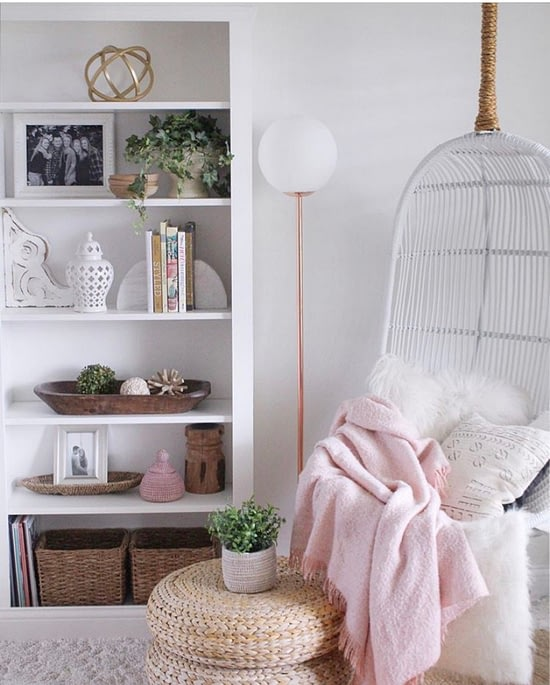 hanging boho chair pink accents home decor sitting room simple cozy charm