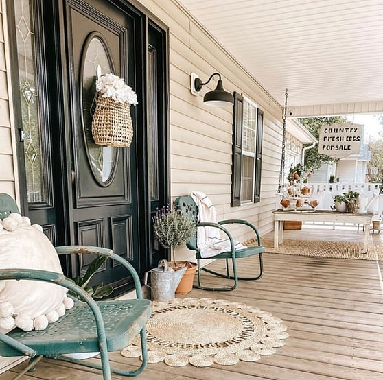 early fall front porch decor black door farmhouse cottage style itty bitty farmhouse