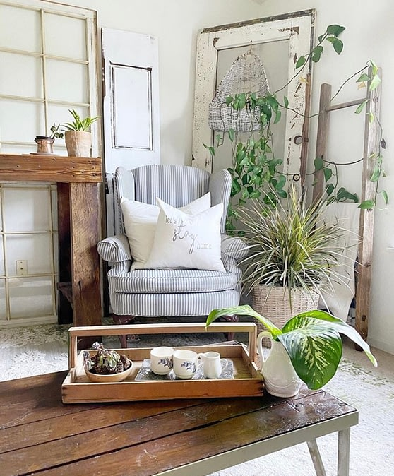eclectic corner cozy farmhouse chair living room