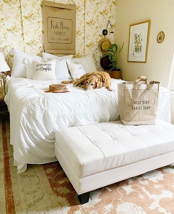 french farmhouse home tour home chronicles master bedroom dog on bed white and wallpaper