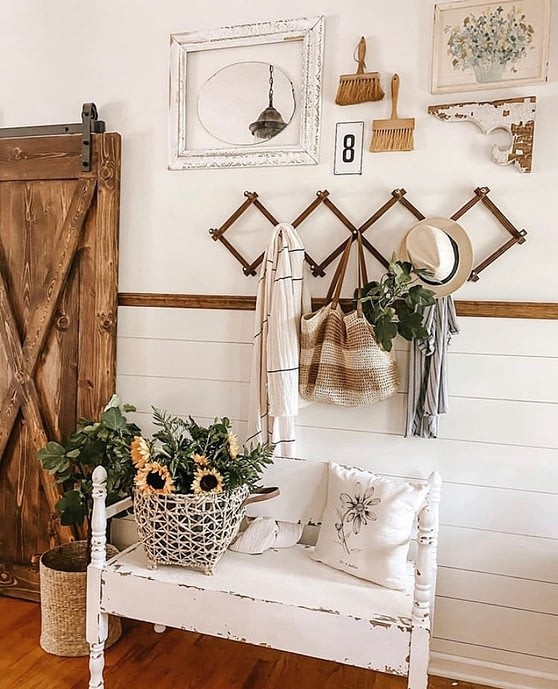 cozy farmhouse cottage style decor wall front entry