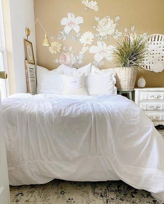 french farmhouse bedroom white linen