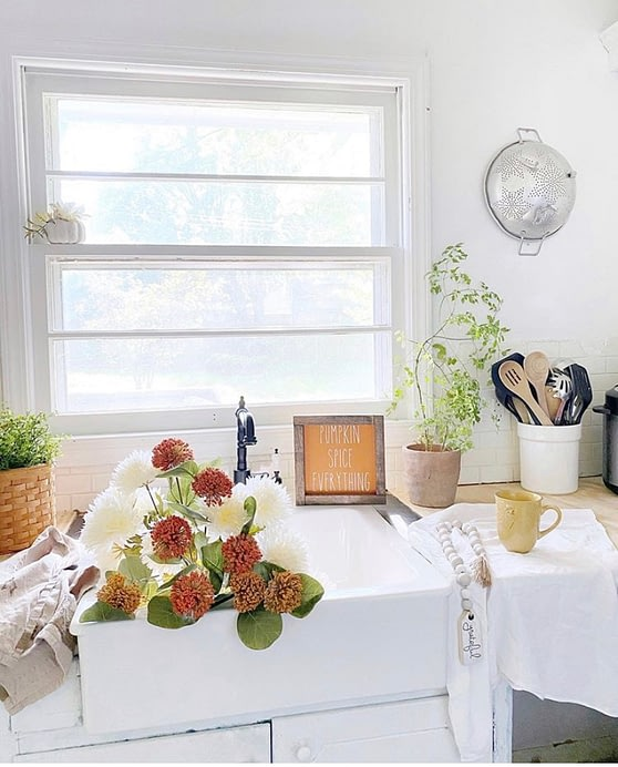 french farmhouse home tour home chronicles kitchen sink farmhouse sink full of flowers