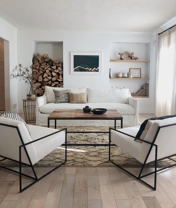 Patterned rug and throw pillows