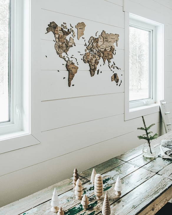side view of the map on the wall