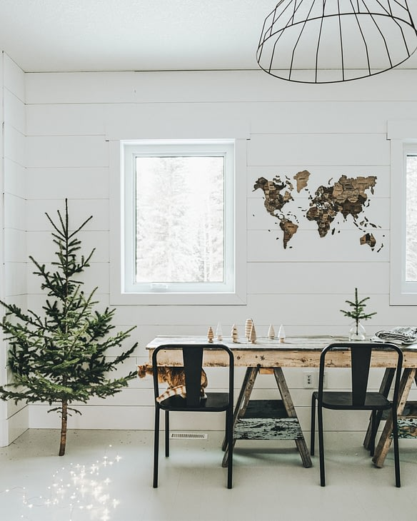 enjoy the map displayed in the office with christmas decor