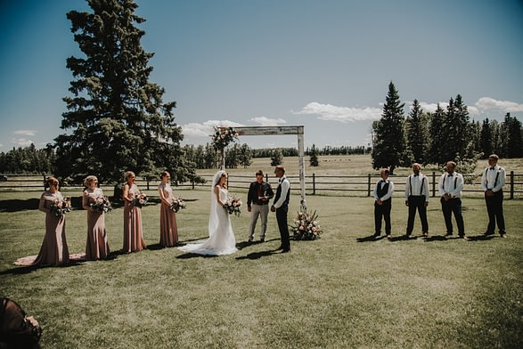 outdoor wedding backyard arch rustic elegant country