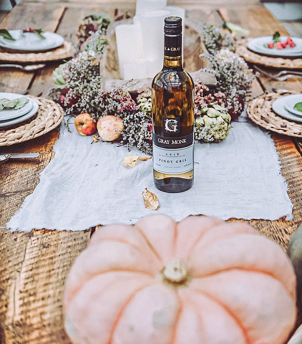 Thanksgiving Essentials with Gray Monk Winey on table runner