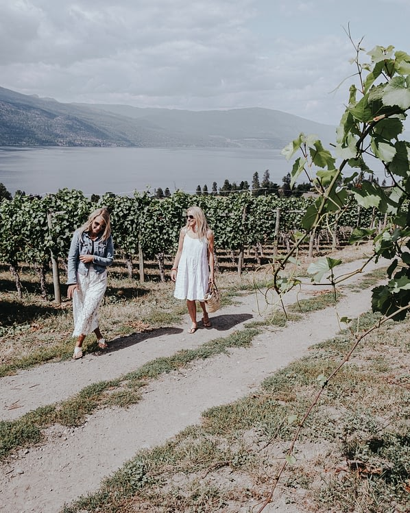 Britt and Deb in wine country on a tour as instagram influencers