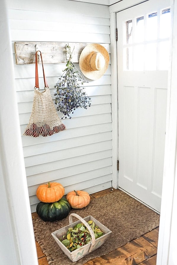 Farmhouse Entrance fall garden harvested vegetables