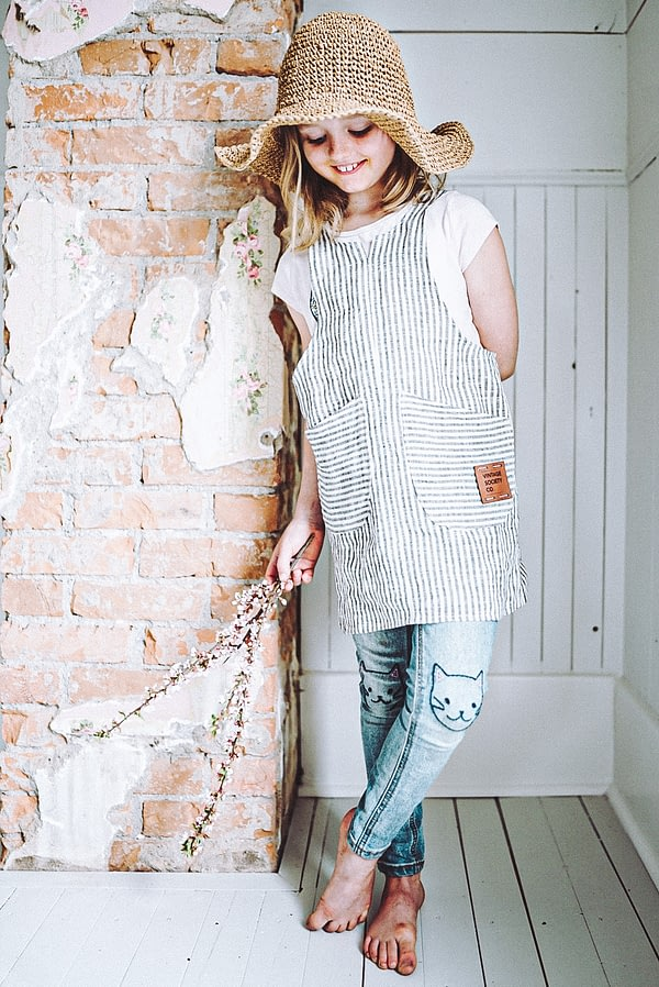 mini me ticking linen pinafore apron