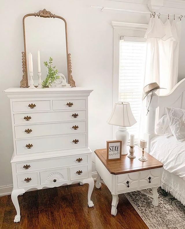 tall boy dresser decor white and wood tones