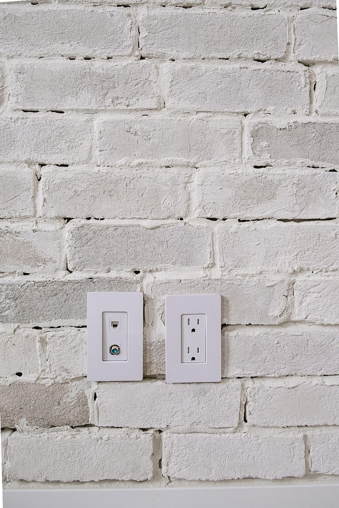 Thin Brick Wall Tutorial wall outlets with covers on