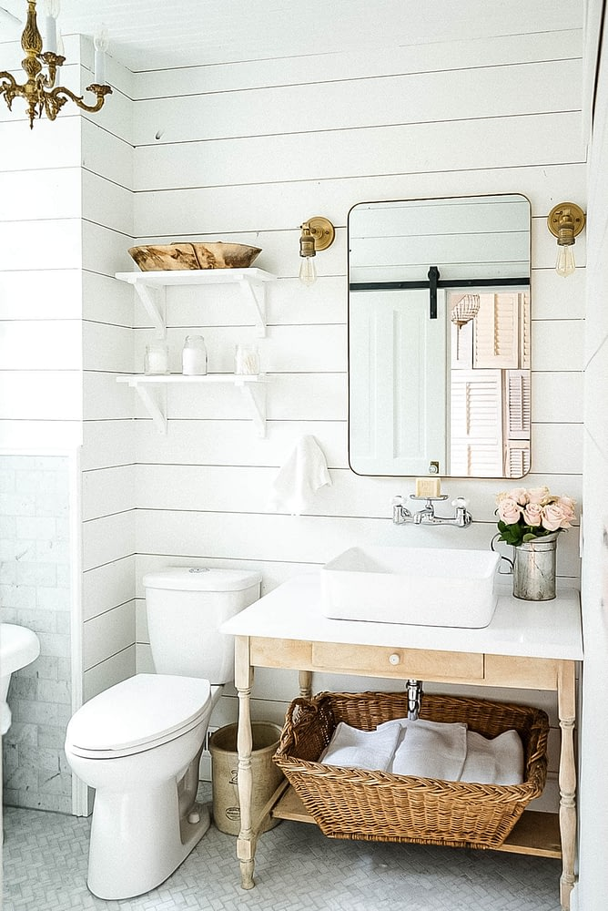 tiny bathroom with storage solutions