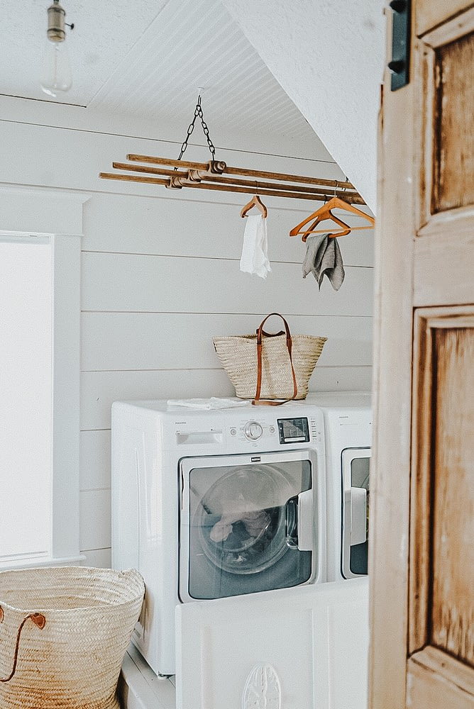 laundry white and wood decor