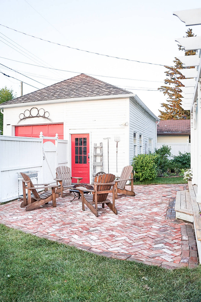 salvaged brick patio and outdoor living spaces