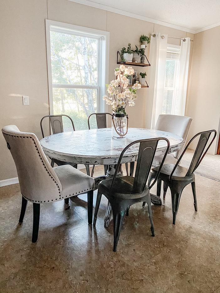 round farmhouse dining table cloth chairs metal chairs