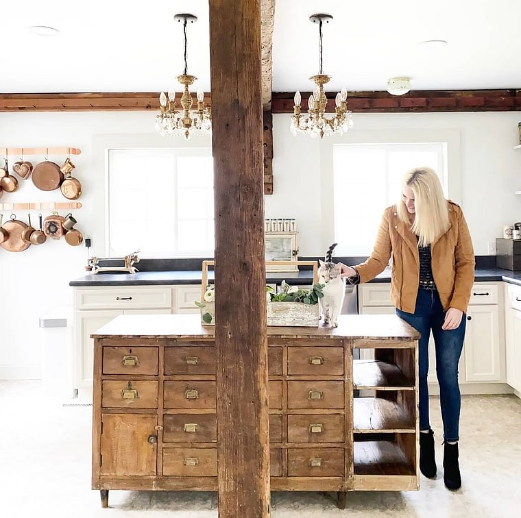 exposed beams raw wood kitchen island