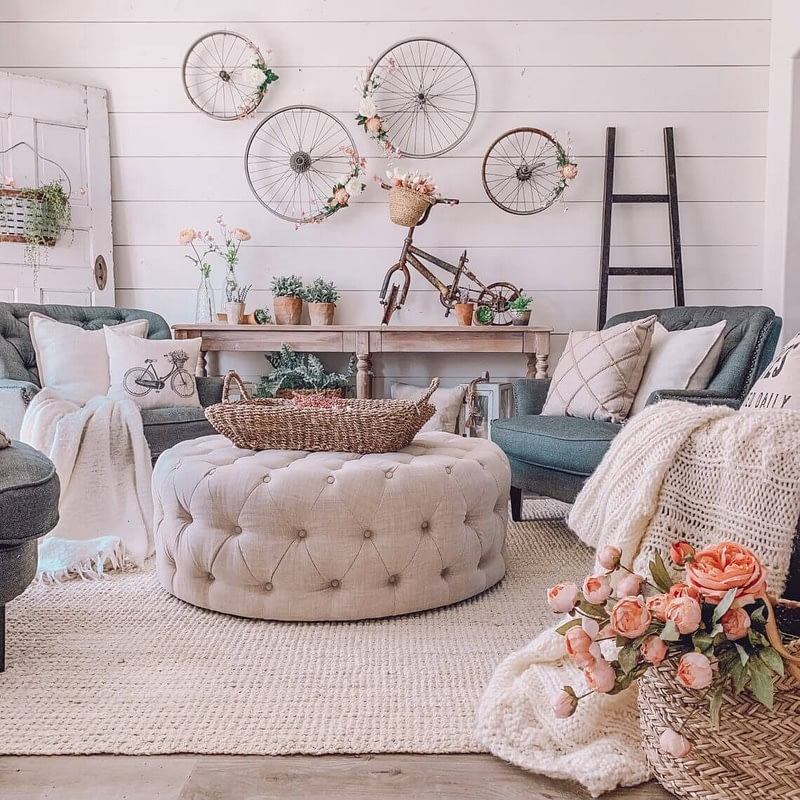 Life by Leanna Farmhouse Chic Spring Decor sitting room bicycle wall decor