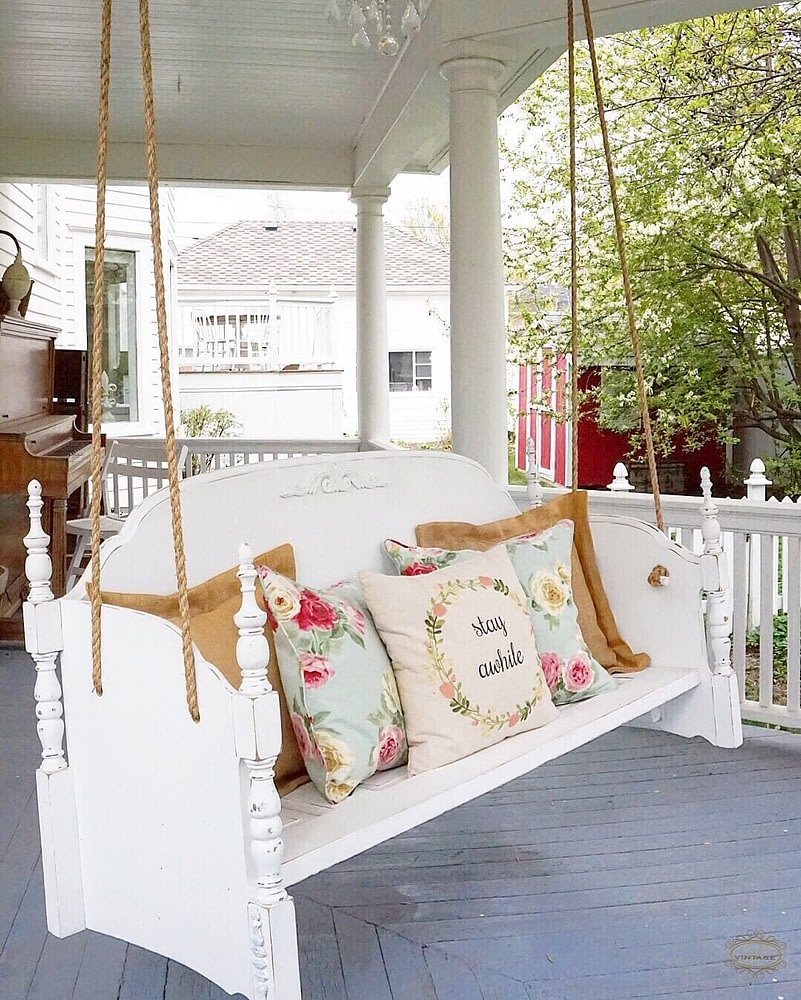 Finished-Porch-Swing-Bed-with-Floral-and-Burlap-Cushions